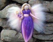 Violetta - Needle Felted Wool angel, Waldorf inspired fairy doll, wool, guardian angel