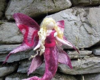 TABEA, mermaid, Waldorf doll, Wool fairy ooak