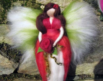 Needle Felted Wool fairy, Flower fairy, Waldorf inspired fairy doll, wool