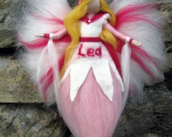 AMELIA - Needle Felted Wool fairy, with your childs name, Waldorf inspired fairy doll,