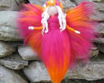 orange / pink - Needle Felted Wool fairy, Flower fairy, Waldorf inspired fairy doll, wool