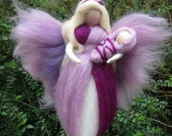 JAHNA - Needle Felted Wool angel, Waldorf inspired fairy doll, wool, guardian angel