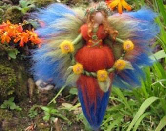 BÄRBL Needle Felted Wool  fairy, Flower fairy, Waldorf inspired fairy doll, wool