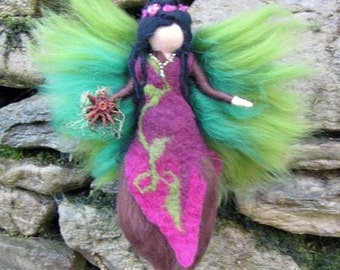 WILLOW - Nature fairy, needel felted waldof inspried doll,