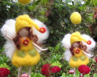 YELLOW - Needle Felted Wool  fairy girl from the rainbow collection , Flower fairy, Waldorf inspired fairy doll, wool