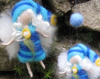 Blue - Needle Felted Wool  fairy girl from the rainbow collection , Flower fairy, Waldorf inspired fairy doll, wool