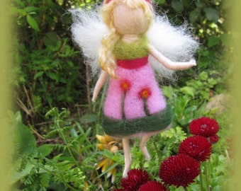 Lia - Needle Felted Wool  fairy girl , Flower fairy, Waldorf inspired fairy doll, wool