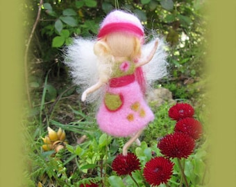 Lollo - Needle Felted Wool  fairy girl , Flower fairy, Waldorf inspired fairy doll, wool