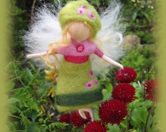 Lilly - Needle Felted Wool  fairy girl , Flower fairy, Waldorf inspired fairy doll, wool
