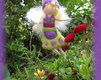 Lisa - Needle Felted Wool  fairy girl , Flower fairy, Waldorf inspired fairy doll, wool