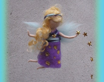 Stardust - little sleep well fairy, Waldorf inspired needle felted wool fairy