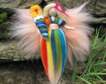 Birthday fairy, school-start fairy RAINBOW Waldorf doll, Wool fairy ooak