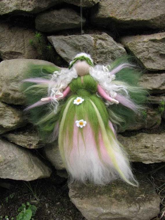 Daisy - Needle Felted Wool fairy, Flower fairy, Waldorf inspired fairy doll, wool
