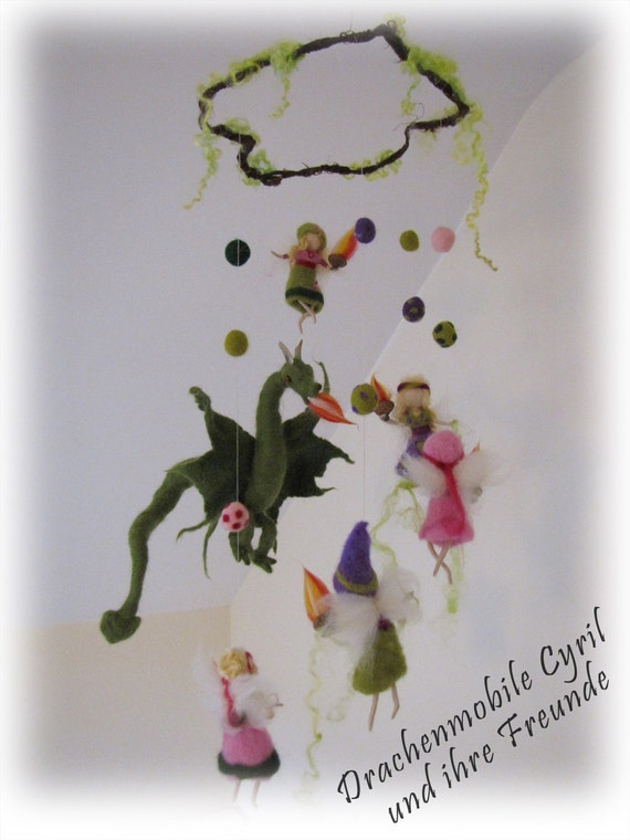Felted mobile with Dragon Cyril and her fairy friends, Waldorf inspired