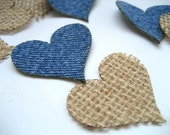 Scrapbook Hearts Upcycled Blue Denim Hearts And Burlap Hearts for Crafts - Combo Pack- Set of 50 - Scrapbook - Card -