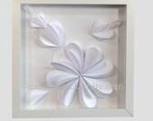 White Paper Flowers  Original Collage Picture Art