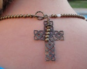 Brass Beads, Brass Cross and Pearl Bead Necklace and Earring Set