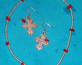 Silver Plated Coral Cross Choker and Earring Set