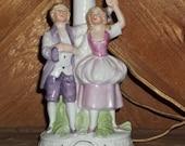 GERMAN VINTAGE LAMP ceramic Porcelain dancing couple includes shade 1950s.