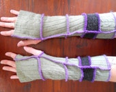 green & black arm warmers 99.99% recycled materials ( had to buy thread)