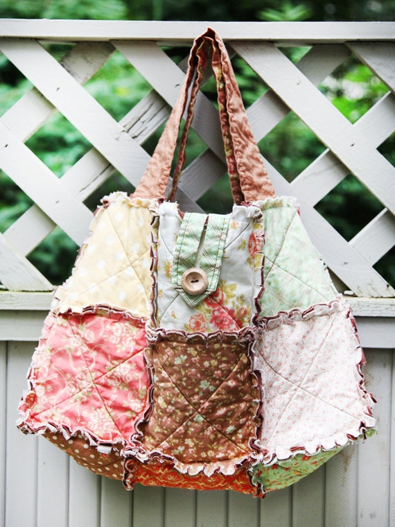 Fig Tree Medium Rag Quilt Tote Ready to Ship by WestCoastQuilts