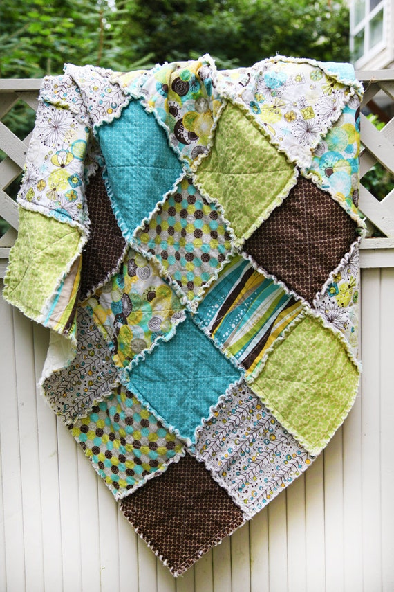 SALE 20% OFF Brook by Studio E Green and Blue Earthy Crib Rag Quilt