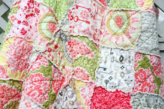 Coral and Khaki and Ivory Secret Garden Crib Rag Quilt, READY to Ship