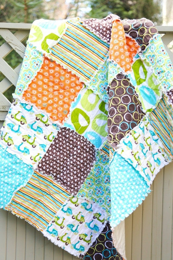 ORGANIC Blue and Brown and Green Monaluna 'Monaco' Crib Rag Quilt, Ready to Ship