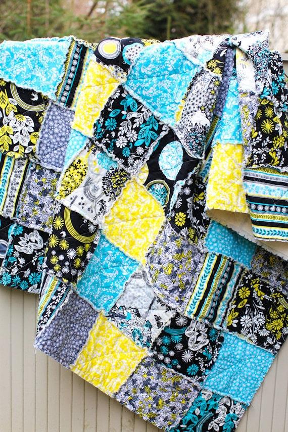 Lemon Grove Large Picnic Throw Sized Rag Quilt, for Shannon