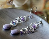 Purple Charoite Amethyst Labradorite Silver Chain Link Cluster Earrings