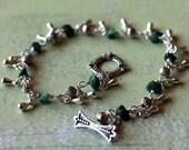 Dainty Green Natural Emerald Teardrop Charm Bracelet