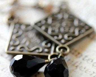 Antiqued Gold Shanghai Chic Drop Earrings