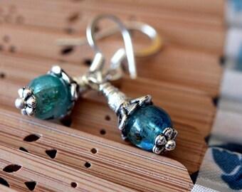 Petite Stardust Blue Kyanite Silver Drop Earrings