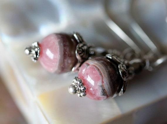 Swirly Brittany Rhodochrosite Drop Earrings