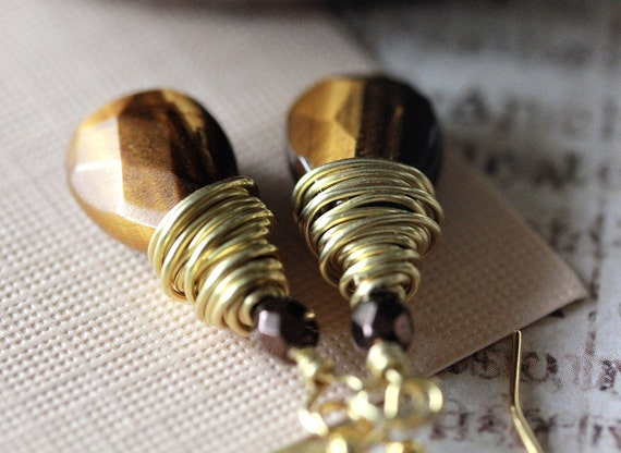 Versailles Tigereye Gold Wire Wrapped Drop Earrings