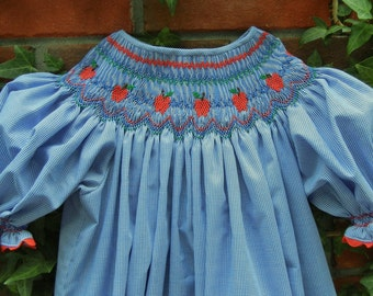 Bishop Dress Smocked with Shiny Red Apples and MADE TO ORDER