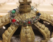 Vintage Assemblage Art Deco Colorful Bracelet Sassy Sisters Jewelry One of a Kind