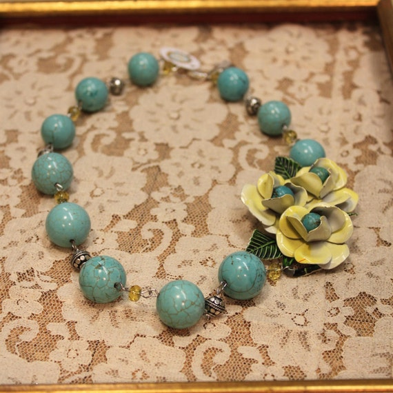 Vintage Assemblage Necklace Enamel Flower Brooch Turquoise and Yellow One of a Kind Sassy Sisters Jewelry