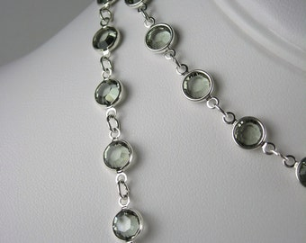 Long Smoky Gray Bezel Set Crystal Necklace