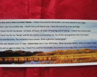 """Bookmark. Inspirational Bookmark title """"To Rise and To Rest is to Give Thanks"""""""