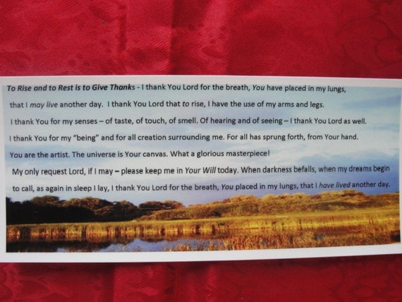 "Bookmark. Inspirational Bookmark title ""To Rise and To Rest is to Give Thanks"""