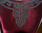RESERVED Blood Red Velvet Dress W/ Embroidery 1950s/ 1960s