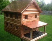 Copper roof cedar siding large farmhouse bird feeder