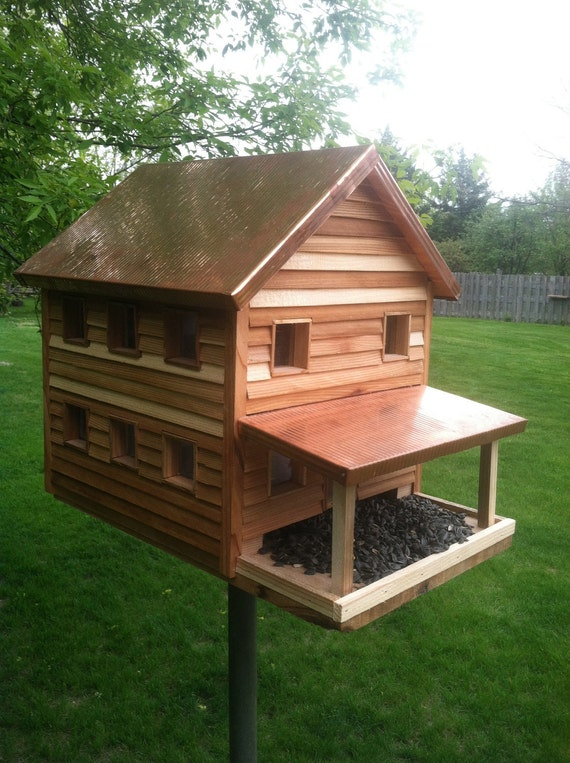 Copper roof cedar siding large farmhouse bird feeder
