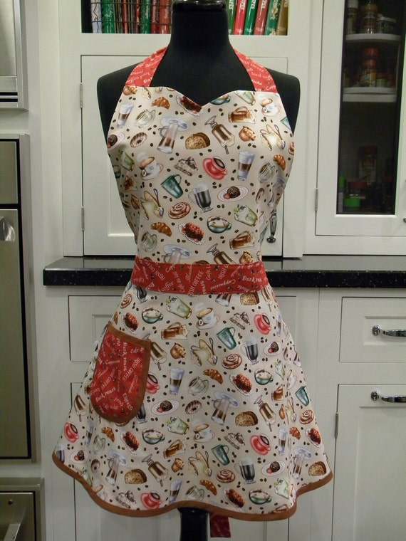 SALE-Womens Apron-LAST ONE-I Love Coffee Full Sweetheart Apron-30% off