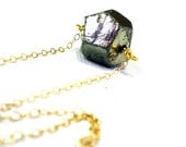 Raw pyrite necklace: natural big rough pyrite, gold filled chain, gold necklace, handmade jewelry, winter fashion, holiday gifts