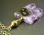 Amethyst druzy pendant necklace: natural amethyst drusy, big stalactite gold filled, gold necklace, fashion jewelry handmade girly girl