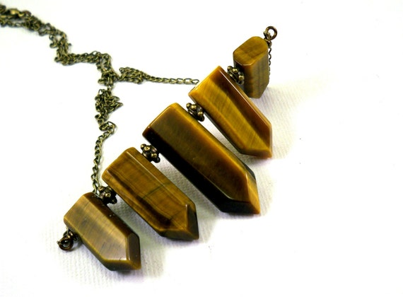 Bohemian necklace: brown tigers eye stones vintage bronze chain, geometrical points natural stones, earthy, primitive native american