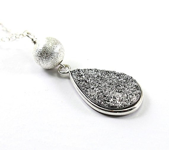 Druzy necklace: sterling silver necklace, sparkly necklace handmade jewelry brushed silver by NatureLook, gray grey fashion women