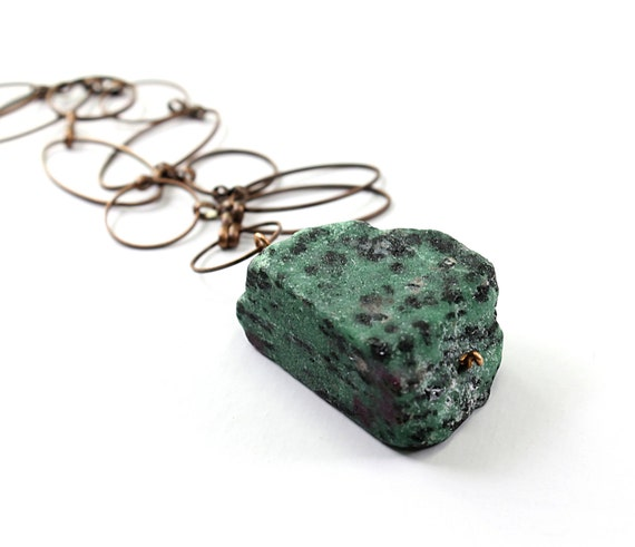 Rough stone necklace: raw ruby zoisite, natural chunky gemstone tribal necklace stone jewelry, healing necklace fashion